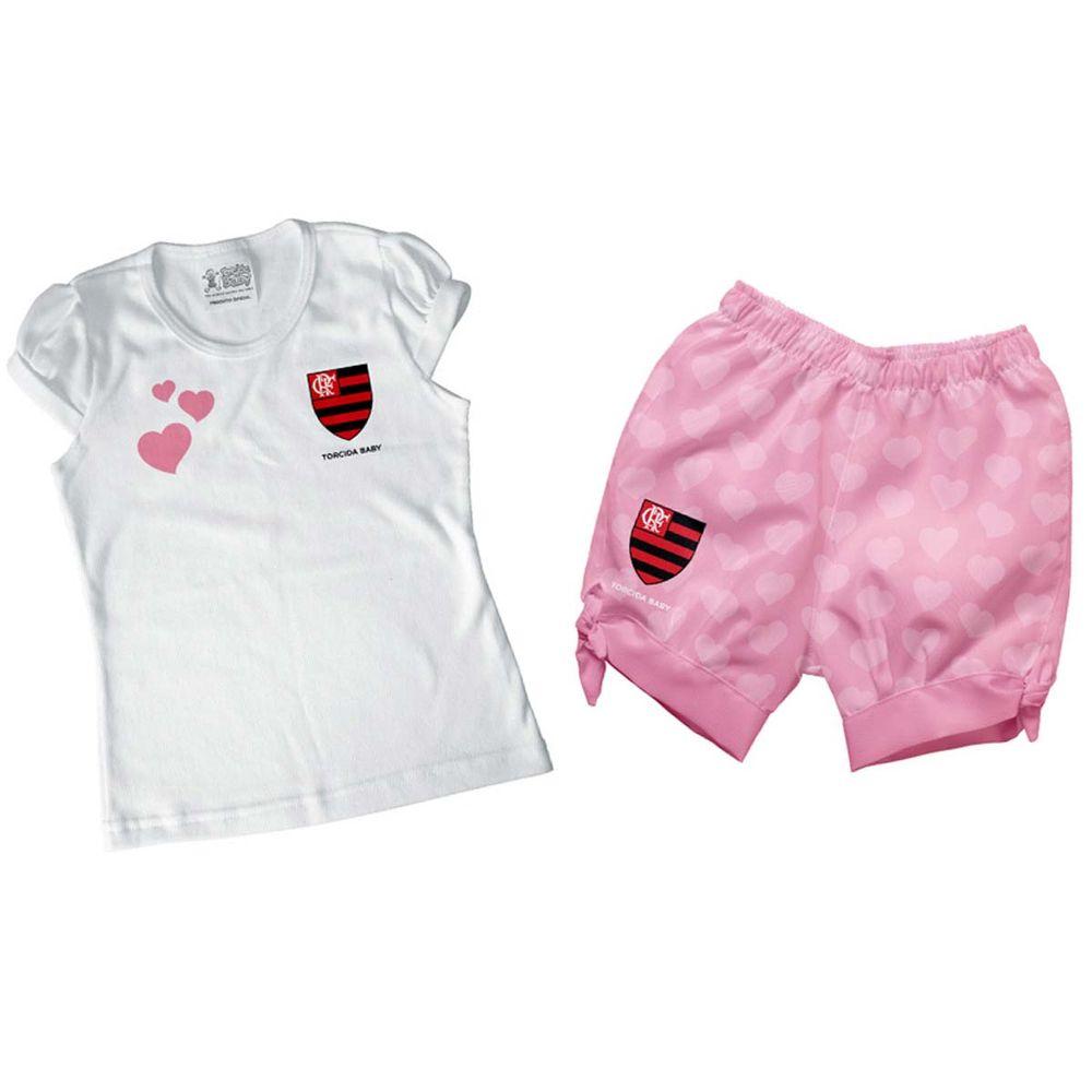 Conjunto Infantil Flamengo Rosa II Menina - EspacoRubroNegro 4b1229c2090