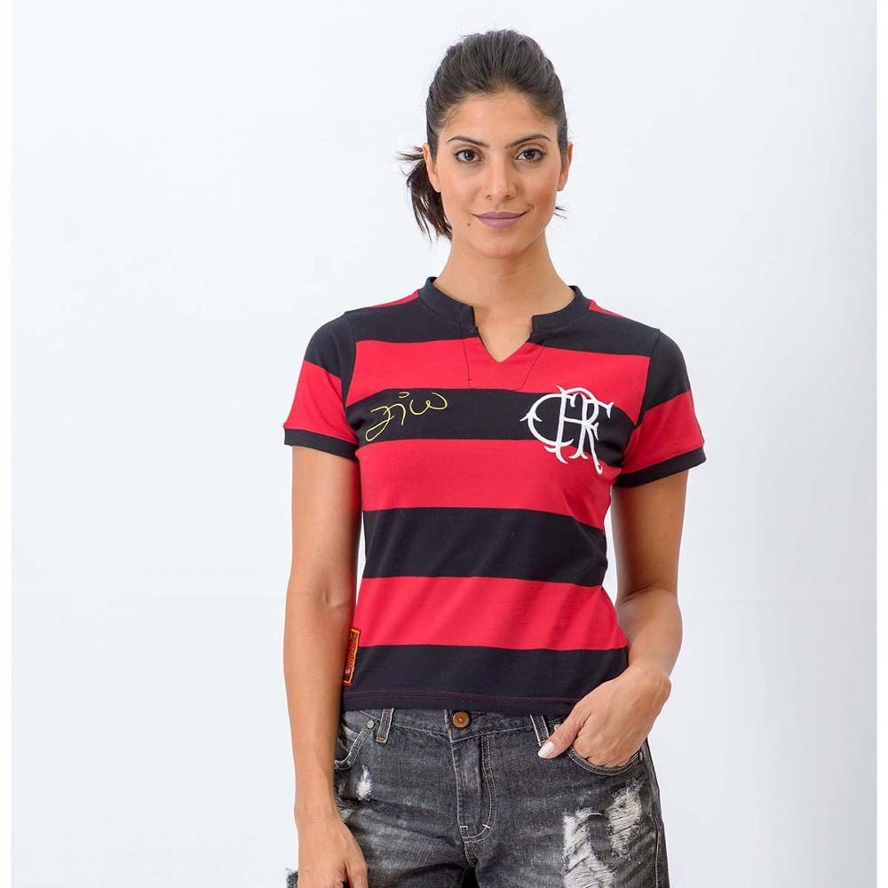 5a8f1c50c Espaço Rubro Negro  Camisa Feminina Flamengo Tri Zico - EspacoRubroNegro