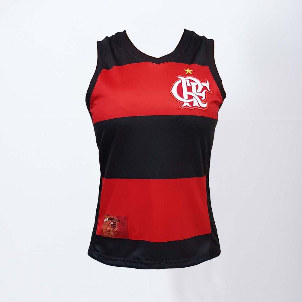 4c4bb0c94f Regata Feminina Flamengo Decote V Hoop CRF - EspacoRubroNegro