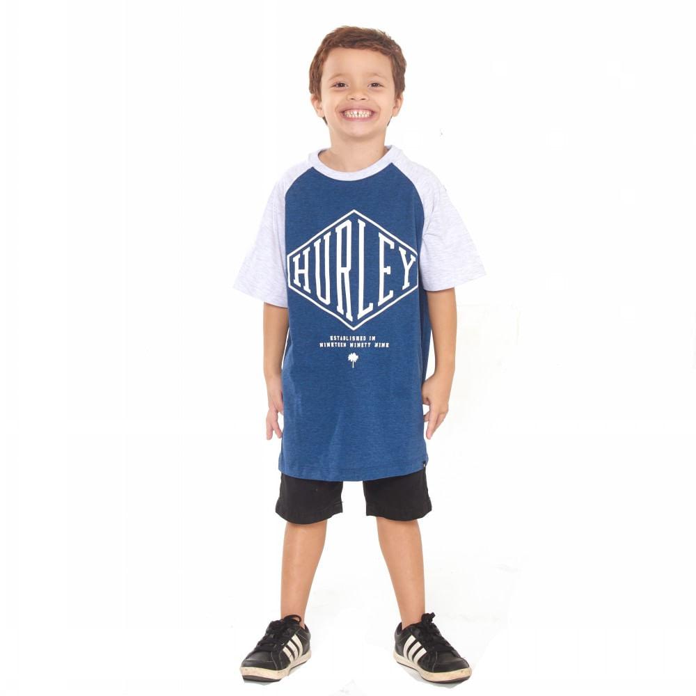 Camiseta Hurley Infantil 634704 Azul - WQSurf bee9ec451fd
