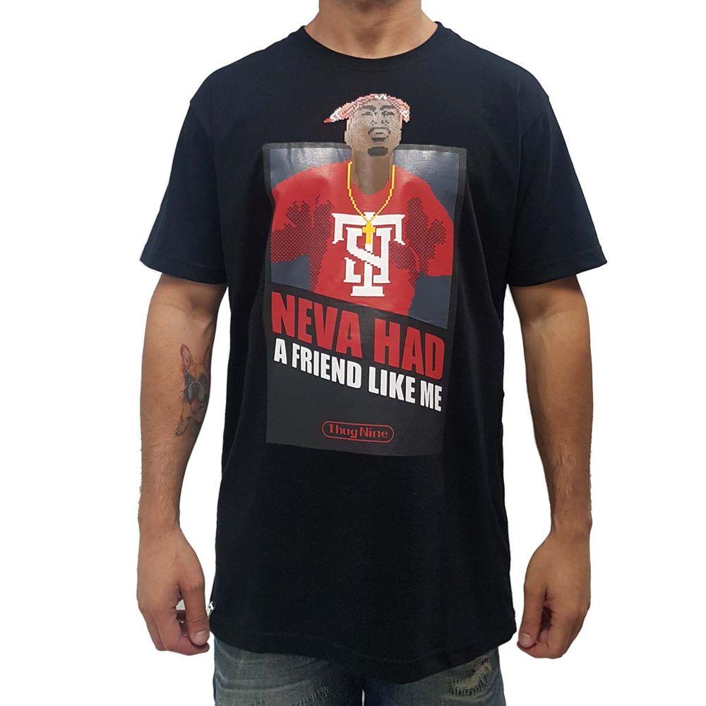 1f60f94b9c91d Camiseta Thug Nine Tupac Pixel Preta - WQSurf