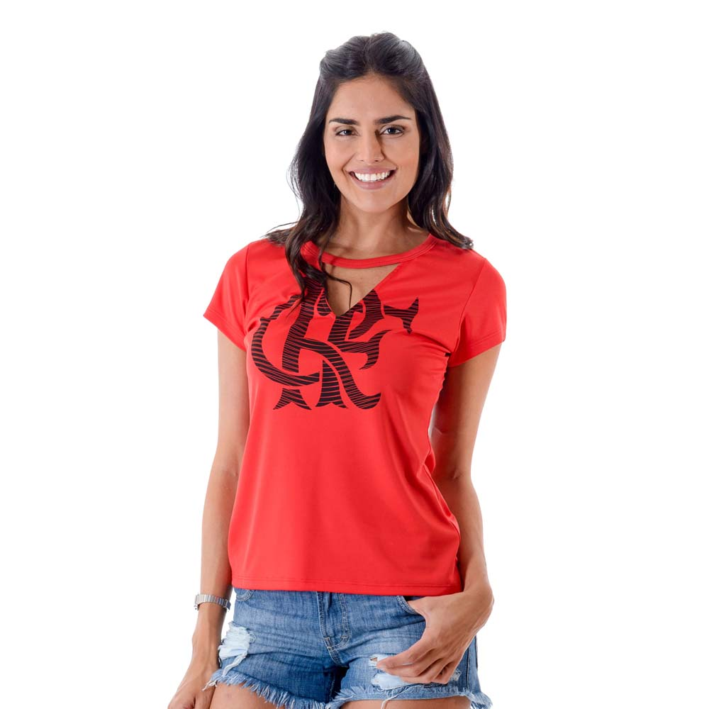 1be74c937f Camisa Flamengo Feminina Chocker Vermelha - EspacoRubroNegro