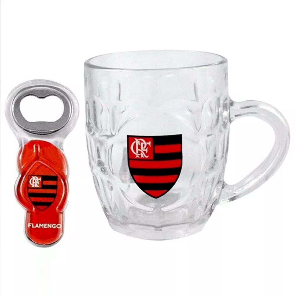 8b3520d173 Caneca Flamengo de Vidro Com Abridor Chinelo - EspacoRubroNegro