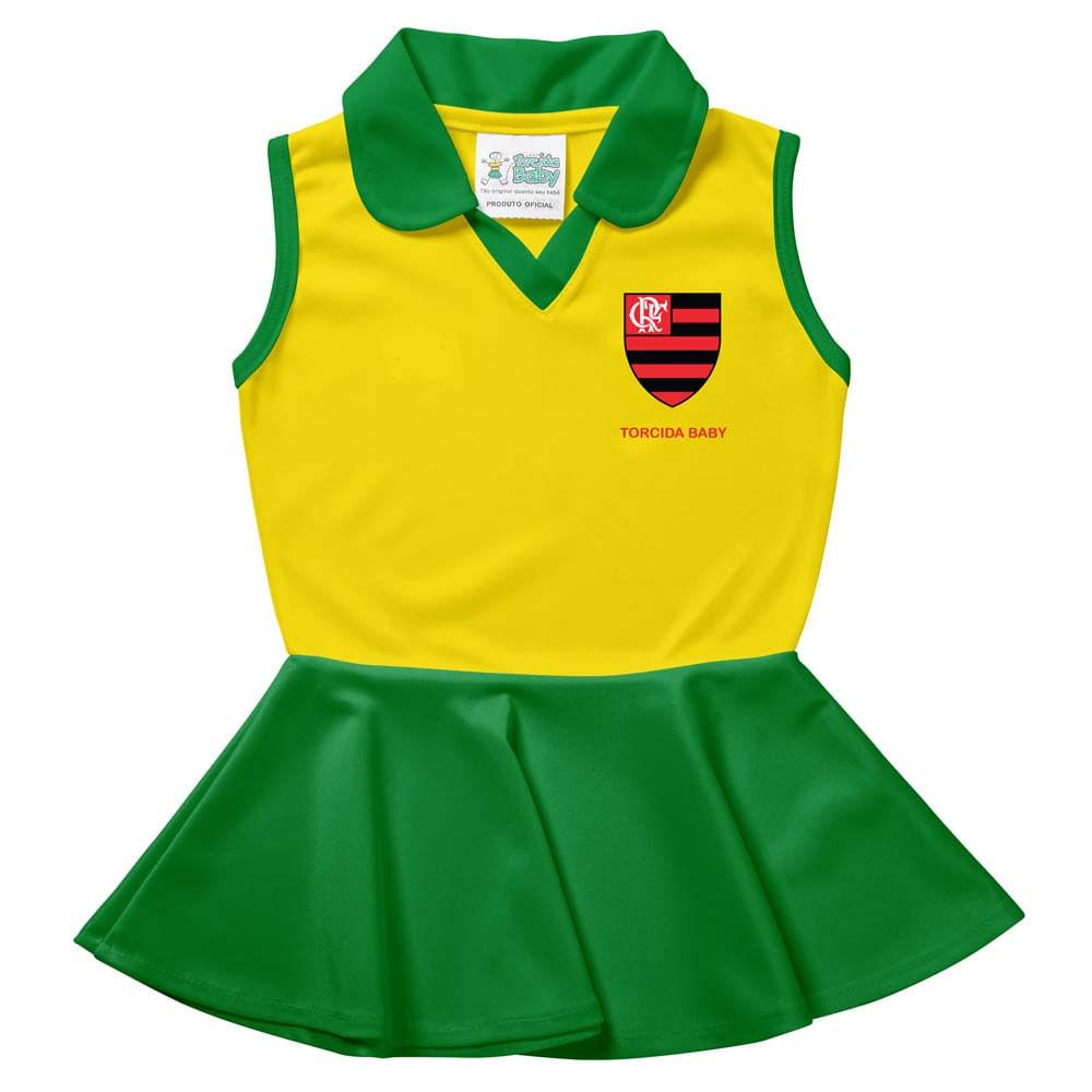 Vestido Polo Flamengo Infantil Brasil Times Torcida Baby - EspacoRubroNegro 03f7074a7b408
